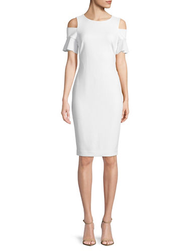 Calvin Klein Cold-Shoulder Sheath Dress-WHITE-4