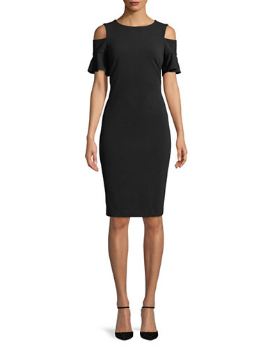 Calvin Klein Cold-Shoulder Sheath Dress-BLACK-2