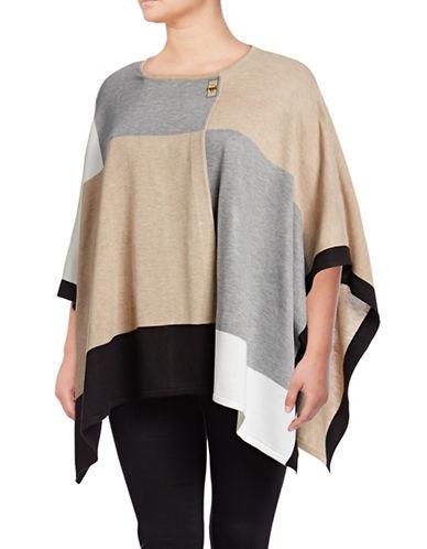 Calvin Klein Plus Colourblocked Poncho-BROWN-One Size