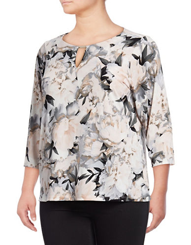 Calvin Klein Plus Printed Three-Quarter Sleeve Top-GREY-1X