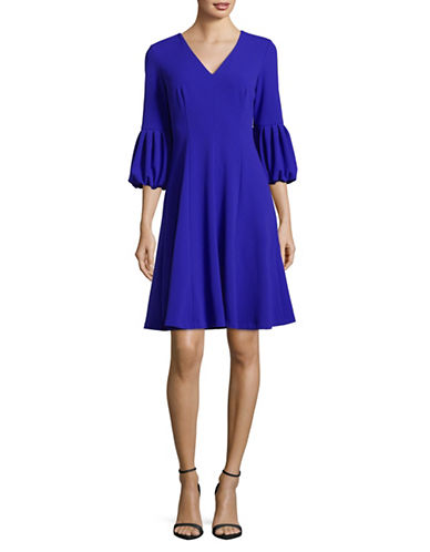 Calvin Klein V-Neck Puff-Sleeve A-Line Dress-BLUE-12