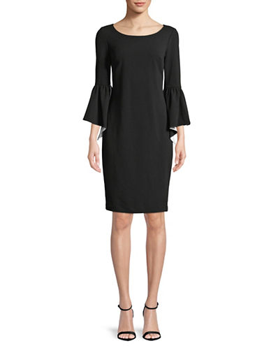 Calvin Klein Bell-Sleeve Sheath Dress-BLACK-4
