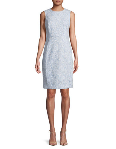 Calvin Klein Sleeveless Compression Jacquard Sheath Dress-BLUE-8