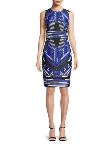 Calvin Klein Printed Sleeveless Sheath Dress-BLUE-8