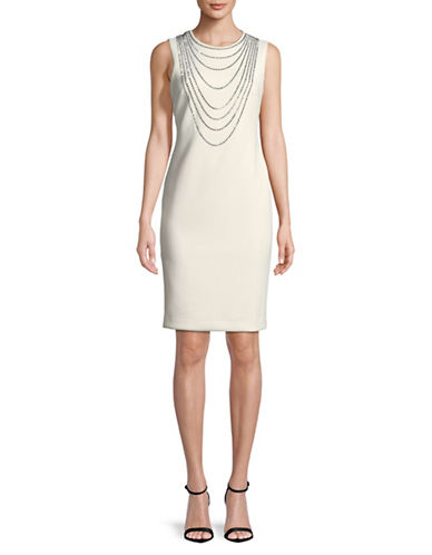Calvin Klein Embellished Sleeveless Sheath Dress-CREAM-4
