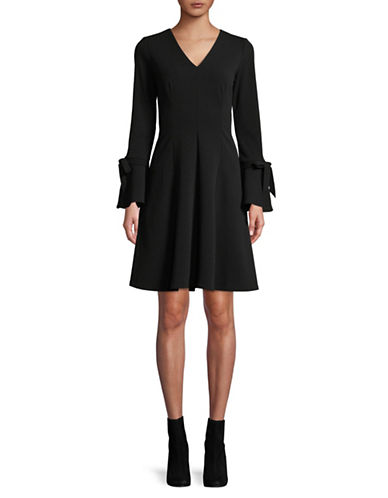 Calvin Klein V-Neck A-Line Dress-BLACK-4