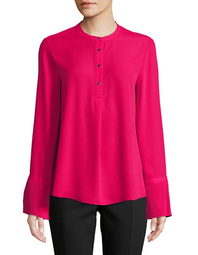 Calvin Klein Pleated Long-Sleeve Top-RED-Small
