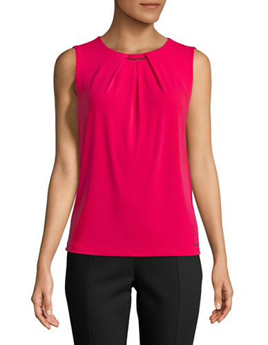 Calvin Klein Pleated Sleeveless Top-RED-X-Large