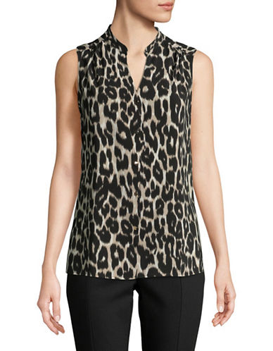 Calvin Klein Animal-Print Sleeveless Top-BEIGE-X-Small