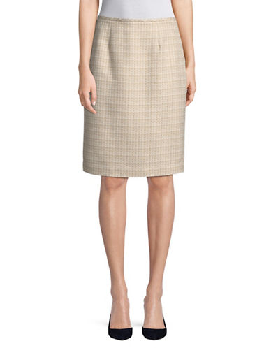 Calvin Klein Tweed Straight Skirt-BEIGE-8