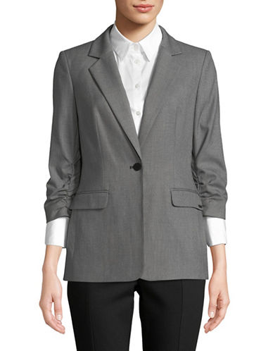 Calvin Klein Ruched-Sleeve One-Button Jacket-GREY-6