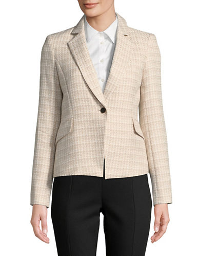 Calvin Klein One-Button Tweed Jacket-BEIGE-12