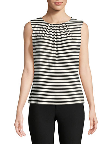 Calvin Klein Striped Pleat Neck Cami-BLACK-Small