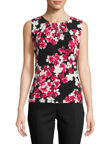 Calvin Klein Floral Sleeveless Top-BLACK-Large