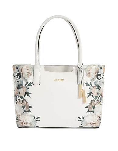 Calvin Klein Floral-Printed Saffiano Tote-WHITE FLORAL-One Size