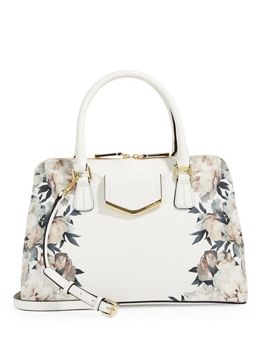 Calvin Klein On My Corner Floral Satchel-WHITE FLORAL-One Size