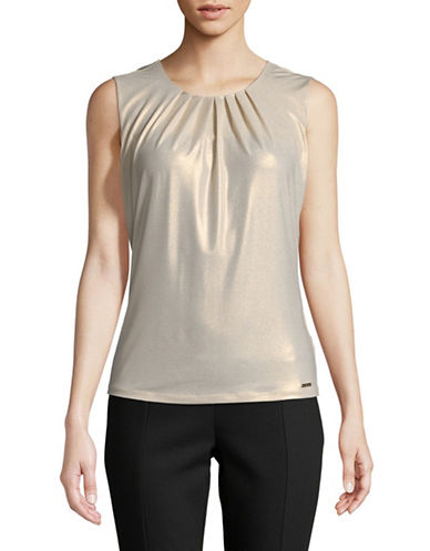 Calvin Klein Metallic Sleeveless Top-GOLD-X-Small