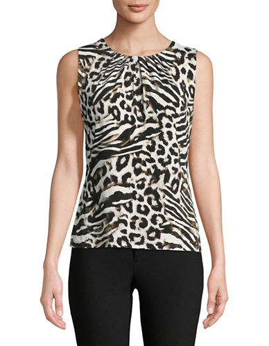 Calvin Klein Animal Print Pleat Neck Cami-BEIGE-Medium