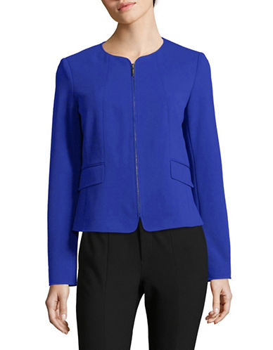 Calvin Klein Zip Front Leather Jacket-BLUE-4