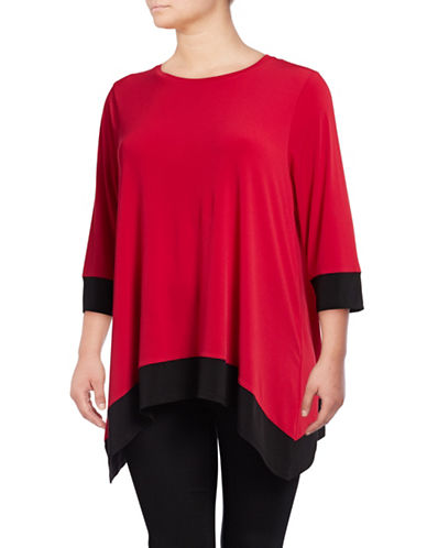 Calvin Klein Plus Colourblock Sharkbite Top-RED-3X 89722714_RED_3X