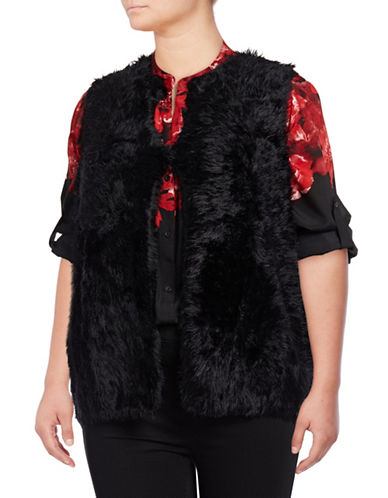 Calvin Klein Plus Faux Fur Vest-BLACK-2X