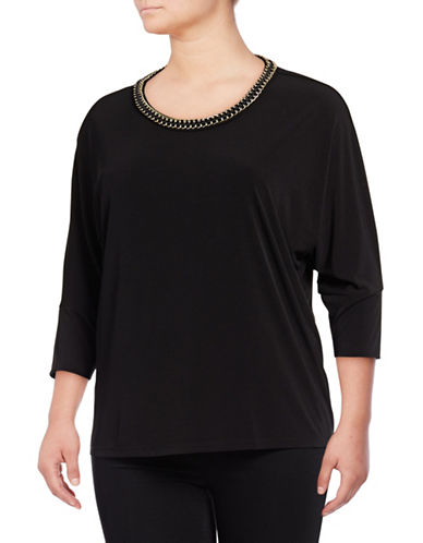 Calvin Klein Plus Chain Collar Top-BLACK-1X