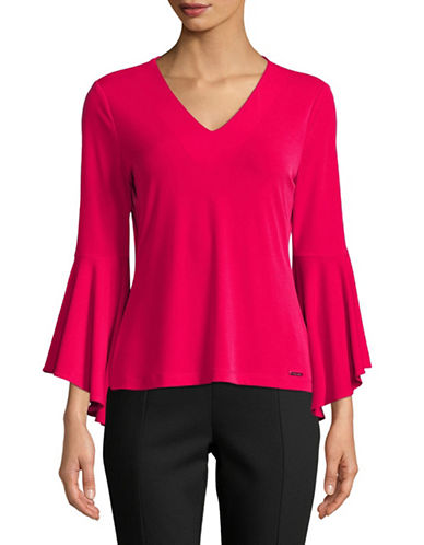 Calvin Klein Long Bell-Sleeve Top-RED-X-Large