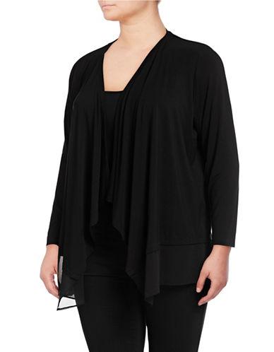 Calvin Klein Plus Flyaway Open-Front Sweater-BLACK-0X