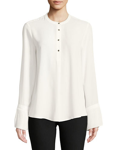 Calvin Klein Pleated Long-Sleeve Top-CREAM-X-Small