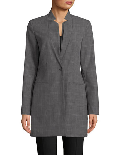 Calvin Klein Plaid Notch Collar Long Jacket-TIN/BLACK-14