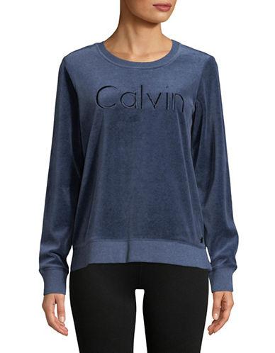 Calvin Klein Performance Velvet Long-Sleeve Top-BLUE-X-Large