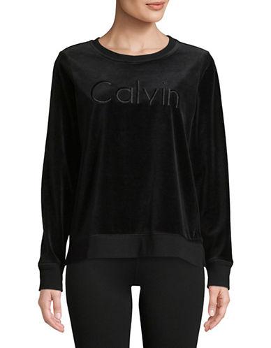 Calvin Klein Performance Velvet Long-Sleeve Top-BLACK-Medium 89713167_BLACK_Medium