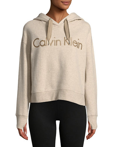 Calvin Klein Performance Logo Drawstring Hoodie-BEIGE-Medium