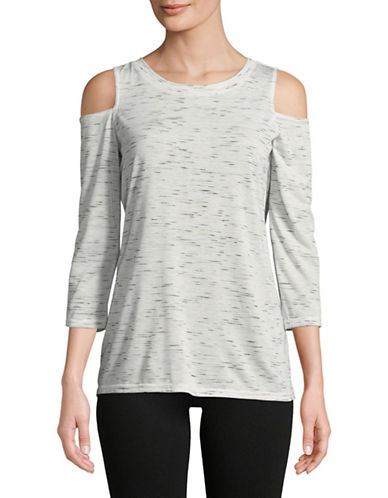 Calvin Klein Performance Cold-Shoulder Tee-GREY-X-Large