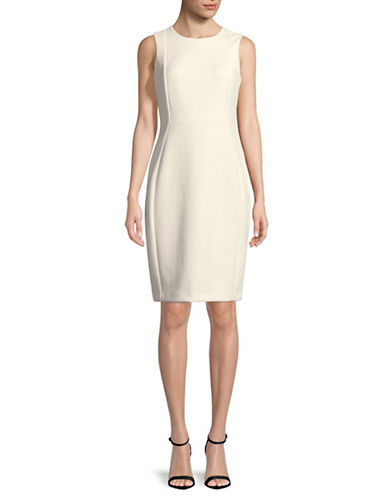 Calvin Klein Squiggle Sheath Dress-WHITE-6