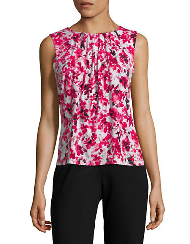 Calvin Klein Floral-Print Pleated Camisole-PINK-Medium