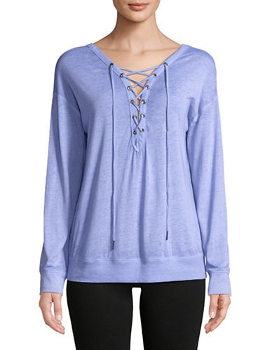 Calvin Klein Performance Lace-Up Tee-LAVENDER-Large