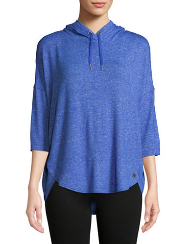 Calvin Klein Performance Three-Quarter Sleeve Hoodie-BLUE-X-Large
