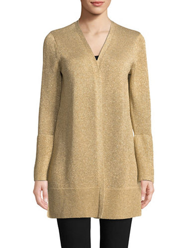 Calvin Klein Lurex Bell-Sleeve Cardigan-GOLD-Medium