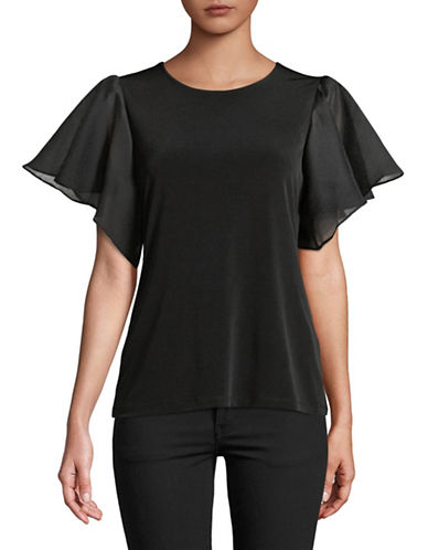 Calvin Klein Flutter Short Sleeve Top-BLACK-X-Large