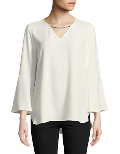 Calvin Klein Bell Sleeve Blouse-WHITE-Medium
