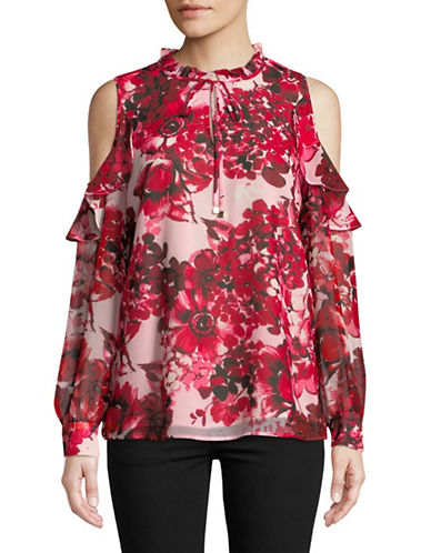 Calvin Klein Cold Shoulder Ruffled Blouse-RED-Small