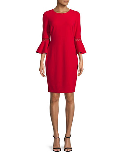 Calvin Klein Bell-Sleeve Sheath Dress-RED-8