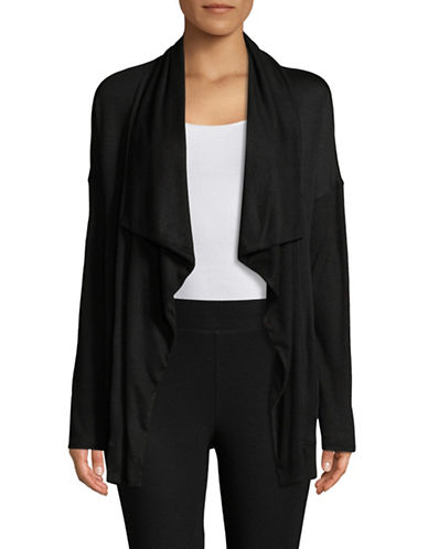 Calvin Klein Performance Ribbed Sleeve Waterfall Cardigan-BLACK-X-Large