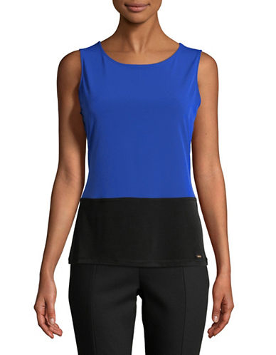 Calvin Klein Colourblocked Sleeveless Top-BLUE-Large