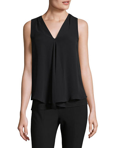 Calvin Klein Chiffon Overlay Top-BLACK-Small