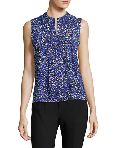 Calvin Klein Printed Woven Top-BLUE-Large