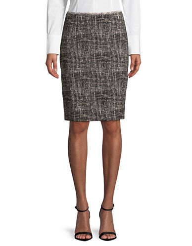 Calvin Klein Printed Pencil Skirt-BLACK/CREAM-2