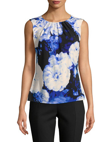 Calvin Klein Floral-Print Pleated Camisole-REGATTA-Small
