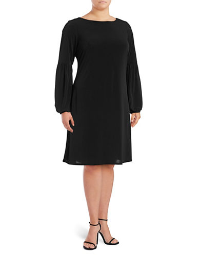 Calvin Klein Balloon-Sleeve A-Line Dress-BLACK-18W
